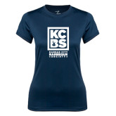 Ladies Syntrel Performance Navy Tee-Kansas City Barbeque Society