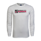 White Long Sleeve T Shirt-Kansas City Barbeque Society Flat