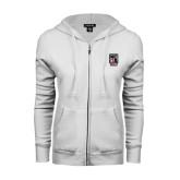 ENZA Ladies White Fleece Full Zip Hoodie-Kansas City Barbeque Society