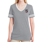 Ladies Grey Heather/White Tri Blend Varsity Tee-Kansas City Barbeque Society