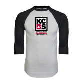 White/Black Raglan Baseball T-Shirt-Kansas City Barbeque Society
