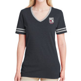 Ladies Black Heather/Grey Tri Blend Varsity Tee-Kansas City Barbeque Society
