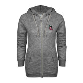 ENZA Ladies Grey/Black Marled Full Zip Hoodie-Kansas City Barbeque Society