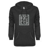 ENZA Ladies Black V-Notch Raw Edge Fleece Hoodie-KCBS