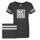 ENZA Ladies Black/White Vintage Triblend Football Tee-KCBS