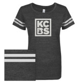 ENZA Ladies Black/White Vintage Triblend Football Tee-KCBS Glitter