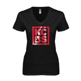 Next Level Ladies Junior Fit Deep V Black Tee-KCBS Foil