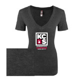Next Level Ladies Vintage Black Tri Blend V-Neck Tee-Kansas City Barbeque Society