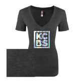 Next Level Ladies Vintage Black Tri Blend V-Neck Tee-KCBS Foil