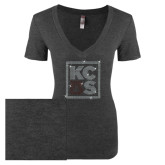 Next Level Ladies Vintage Black Tri Blend V-Neck Tee-KCBS Rhinestones