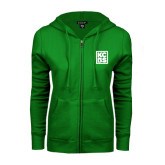 ENZA Ladies Kelly Green Fleece Full Zip Hoodie-KCBS