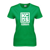 Ladies Kelly Green T Shirt-Kansas City Barbeque Society