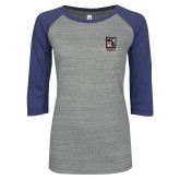 ENZA Ladies Athletic Heather/Purple Vintage Baseball Tee-Kansas City Barbeque Society