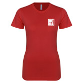 Next Level Ladies SoftStyle Junior Fitted Red Tee-KCBS