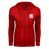 ENZA Ladies Red Fleece Full Zip Hoodie-KCBS