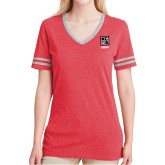 Ladies Red Heather/Grey Tri Blend Varsity Tee-Kansas City Barbeque Society