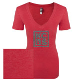 Next Level Ladies Vintage Red Tri Blend V-Neck Tee-KCBS Glitter