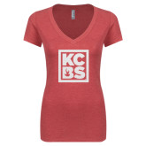 Next Level Ladies Vintage Red Tri Blend V-Neck Tee-KCBS