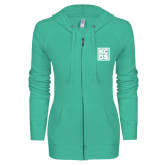 ENZA Ladies Seaglass Light Weight Fleece Full Zip Hoodie-KCBS