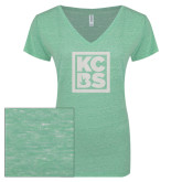 ENZA Ladies Seaglass Melange V Neck Tee-KCBS