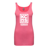 Next Level Ladies Junior Fit Fuchsia Jersey Tank-Kansas City Barbeque Society
