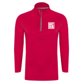 Ladies Pink Raspberry Sport Wick Textured 1/4 Zip Pullover-KCBS