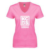Next Level Ladies Junior Fit Deep V Pink Tee-Kansas City Barbeque Society