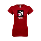 Next Level Ladies SoftStyle Junior Fitted Cardinal Tee-Kansas City Barbeque Society