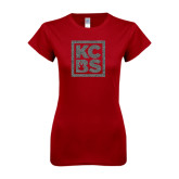 Next Level Ladies SoftStyle Junior Fitted Cardinal Tee-KCBS