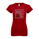 Next Level Ladies Softstyle Junior Fitted Cardinal Tee-KCBS Rhinestones