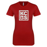 Next Level Ladies SoftStyle Junior Fitted Cardinal Tee-KCBS Glitter