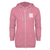 ENZA Ladies Hot Pink Marled Full Zip Hoodie-KCBS
