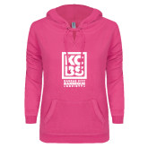 ENZA Ladies Hot Pink V Notch Raw Edge Fleece Hoodie-Kansas City Barbeque Society