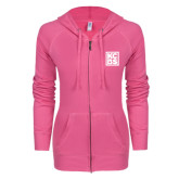 ENZA Ladies Hot Pink Light Weight Fleece Full Zip Hoodie-KCBS