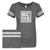 ENZA Ladies Dark Heather/White Vintage Triblend Football Tee-KCBS