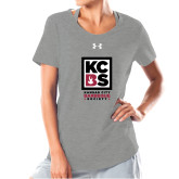 Ladies Under Armour Grey Charged Cotton Tee-Kansas City Barbeque Society