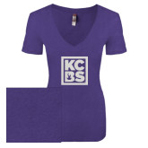 Next Level Ladies Vintage Purple Rush Tri Blend V Neck Tee-KCBS