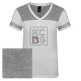 Ladies White/Heathered Nickel Juniors Varsity V Neck Tee-KCBS Rhinestones