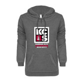 ENZA Ladies Dark Heather V Notch Raw Edge Fleece Hoodie-Kansas City Barbeque Society
