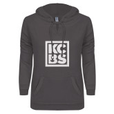 ENZA Ladies Dark Heather V Notch Raw Edge Fleece Hoodie-KCBS
