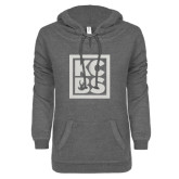 ENZA Ladies Dark Heather V-Notch Raw Edge Fleece Hoodie-KCBS