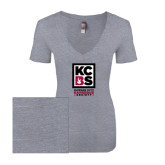 Next Level Ladies Vintage Heather Tri Blend V Neck Tee-Kansas City Barbeque Society