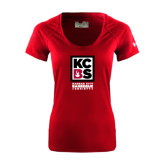 Ladies Under Armour Cardinal Tech Tee-Kansas City Barbeque Society