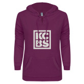 ENZA Ladies Berry V Notch Raw Edge Fleece Hoodie-KCBS