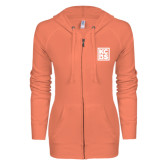ENZA Ladies Coral Light Weight Fleece Full Zip Hoodie-KCBS