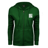 ENZA Ladies Dark Green Fleece Full Zip Hoodie-KCBS