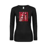 Ladies Black Long Sleeve V Neck Tee-KCBS Foil
