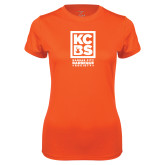 Ladies Syntrel Performance Orange Tee-Kansas City Barbeque Society