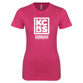 Ladies SoftStyle Junior Fitted Fuchsia Tee-Kansas City Barbeque Society