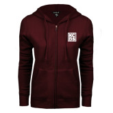 ENZA Ladies Maroon Fleece Full Zip Hoodie-KCBS